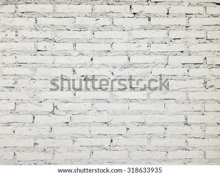 White brick wall closeup texture - stock photo