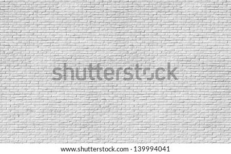 white brick wall huge texture - stock photo