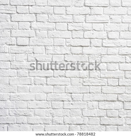 White brick wall, perfect as a background, square photograph - stock photo