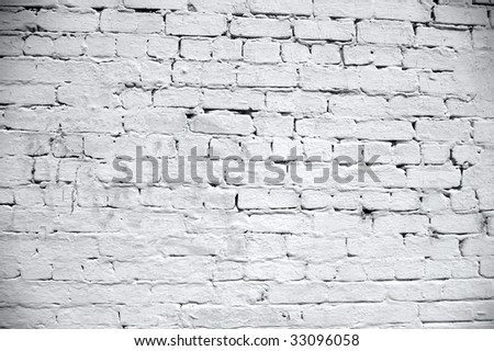 white brick wall texture - stock photo