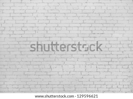 White brick wall texture background - stock photo