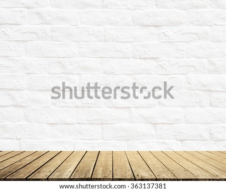 White Brick wall texture surface natural color use for background with Wood terrace - stock photo