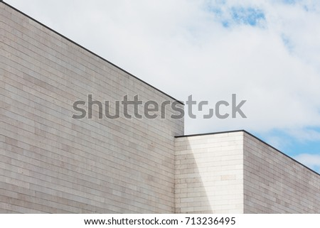 White brick wall with sky, high resolution
