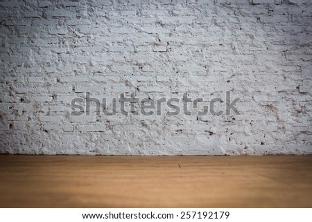 White Bricks Background With Wooden Floor With Vignette - stock photo