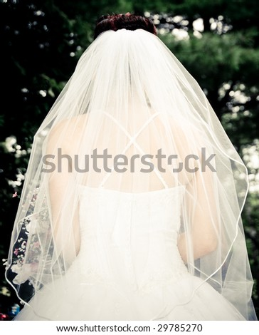 White Bride at her wedding posing with veil - stock photo