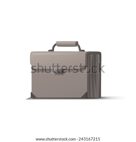 White briefcase with shadow on white background