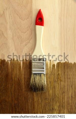 White brush on wooden background - stock photo