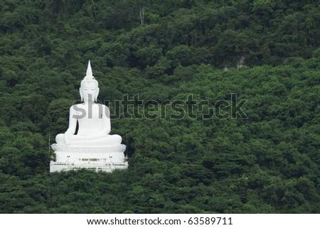 White Buddha against the backdrop of trees. - stock photo