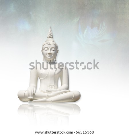 White buddha incl. clipping path, isolated against light grunge background - stock photo
