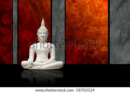 White Buddha, isolated against dark colorful background (incl. clipping path) - stock photo
