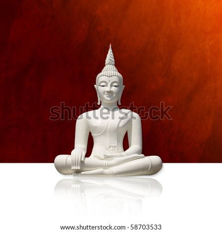 White buddha, isolated against red background (incl. clipping path) - stock photo