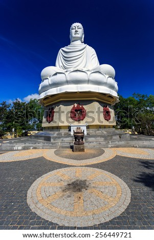 White Buddha Statue at Long Son Pagoda in Nha Trang, Vietnam - stock photo
