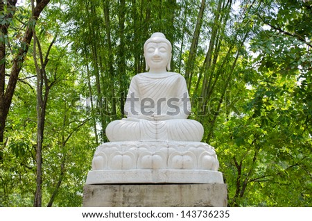White Buddha statue in bamboo garden - stock photo