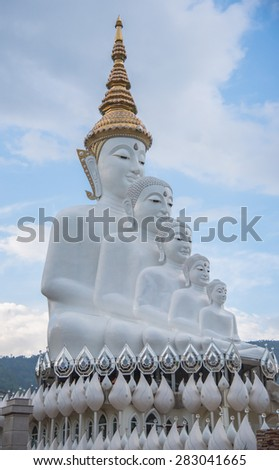 White buddha statue,Wat Phra That Pha Son Kaew - stock photo
