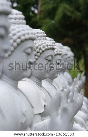 White Buddha statues - stock photo