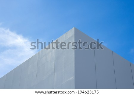 White Building and blue sky - stock photo