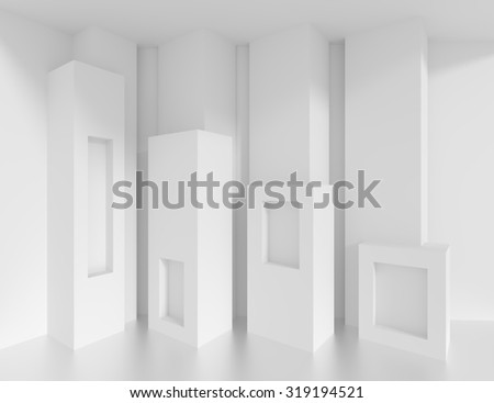 White Building Blocks. Abstract Architecture Background - stock photo