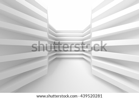 White Building Construction. Abstract Architecture Background. Modern Interior Design. 3d Rendering of White Minimal Technology Design - stock photo