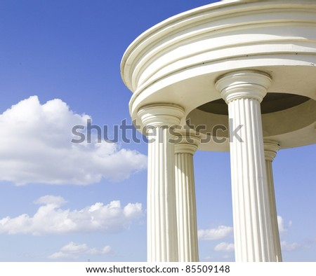 white building under blue sky in the northeast of china - stock photo