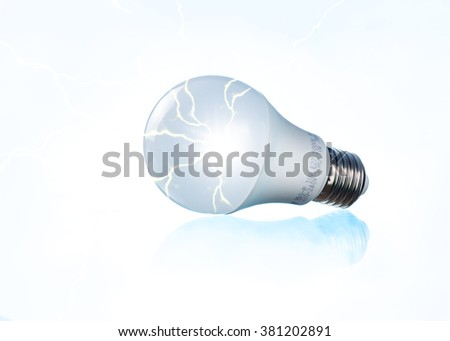 white bulb with electric energy - stock photo