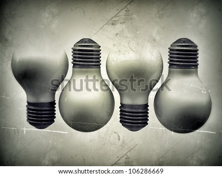 white bulbs isolated on white background