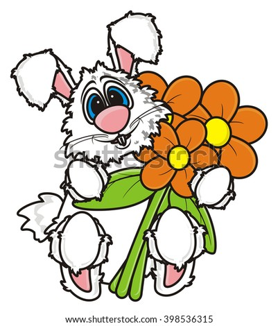 white bunny holding a bouquet of flowers