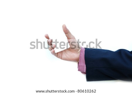 white business card in business man hand isolated on white background