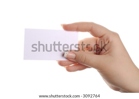 white business card in woman hand