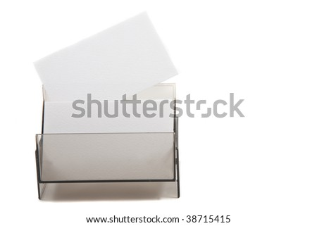 White business card with empty space for text. Isolated on white background - stock photo