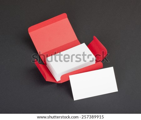 White business cards in the red box - stock photo