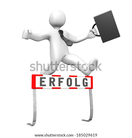 White businessman jump with black case and tie and is successful. German text erfolg, translate success.