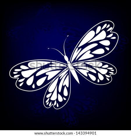 white butterfly on a blue background with wings from hearts. Raster - stock photo
