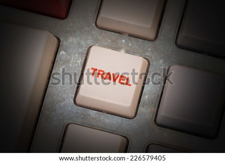 White button on a dirty old panel, selective focus - travel