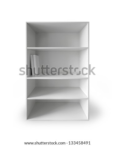 White cabinet with empty shelves and two books above white background with soft shadow - stock photo
