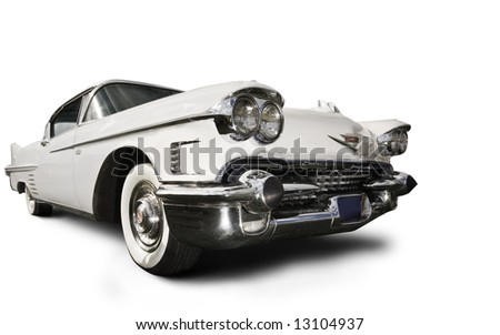 white cadillac - stock photo
