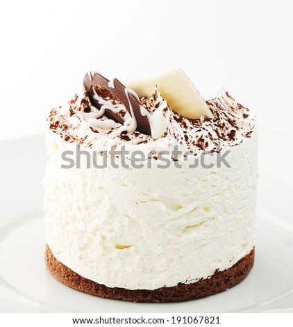 white cake on white dish - stock photo