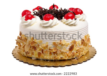 White Cake with cherries and chocolate - stock photo