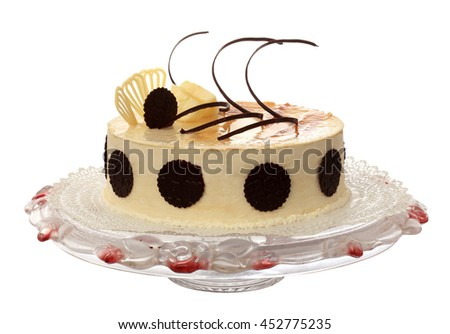White Cake with cherries and chocolate on the white background. (isolated) - stock photo