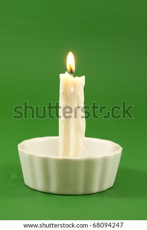 white candle lit - stock photo
