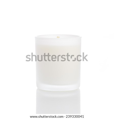 White candle side view 20 degree, on white background - stock photo