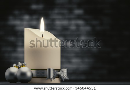 White candles in a dark background.