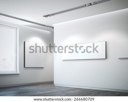 White canvas on a white wall. 3d rendering - stock photo