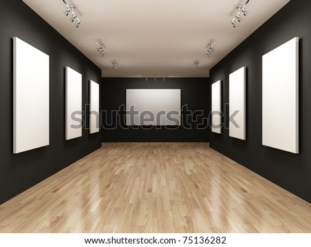 white canvas on the walls of the gallery - stock photo