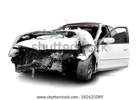 white car in an accident isolated on a white background - stock photo