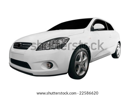 white car isolated - stock photo