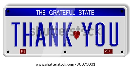 White car number plates spelling thank you on the white background / Thank you number plates - stock photo