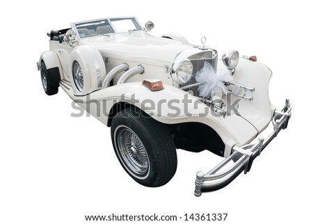 white car old style - stock photo