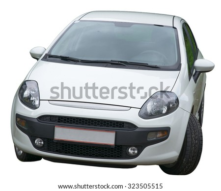 White car on isolated white background, front view - stock photo