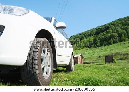 white car on the grass - stock photo