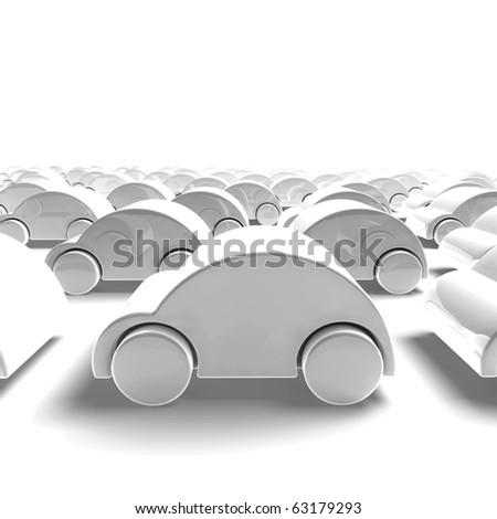 white car traffic - 3D render - stock photo